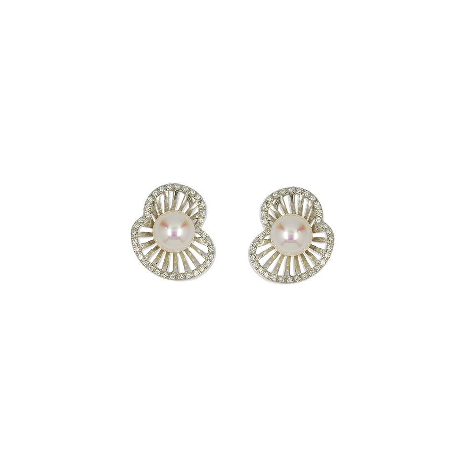Pendientes diamantes y perlas Top Armony. (Rf. CP001)