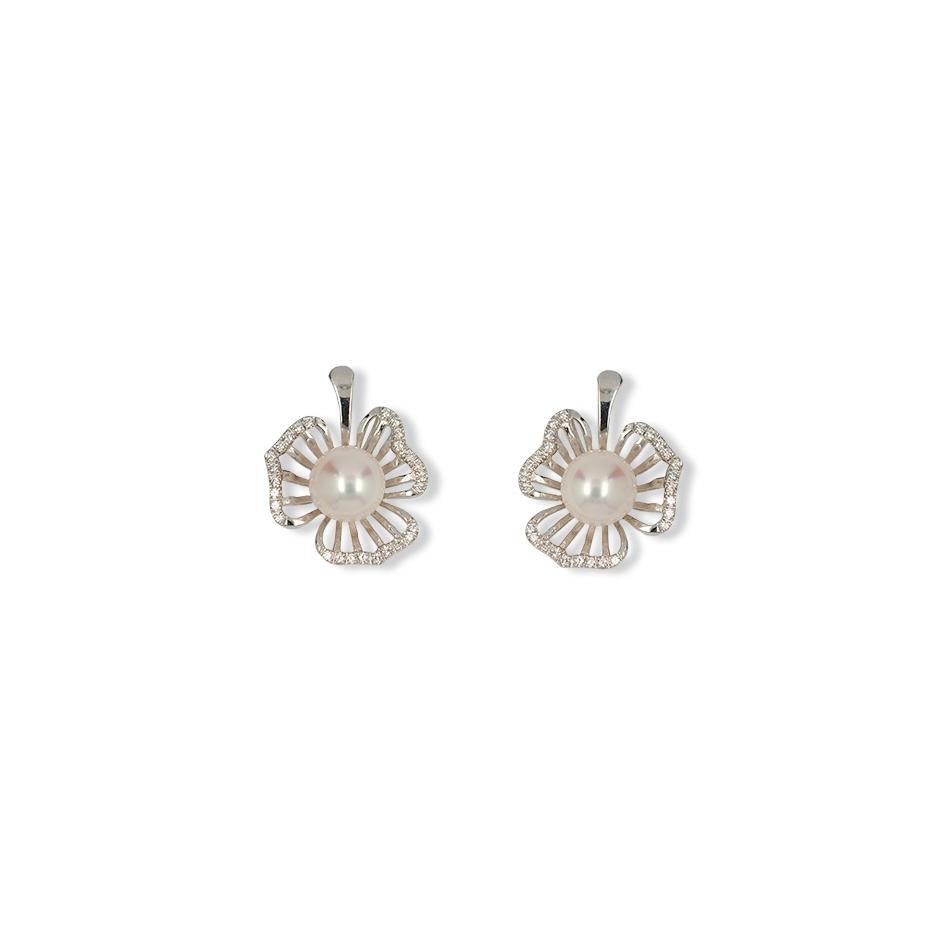 Pendientes diamantes y perlas Top Armony. (Rf. CP003)