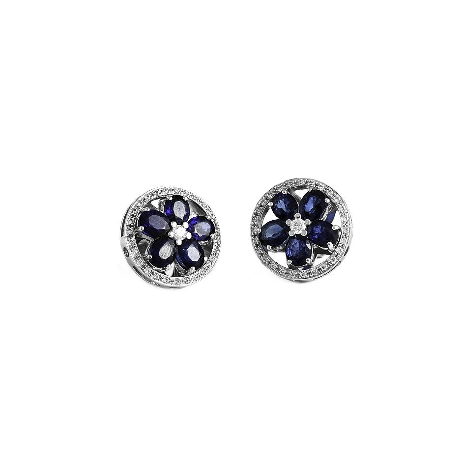 Pendientes con diamantes y zafiros ( Rf 05240BR-ZF )