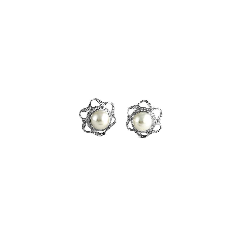 Pendientes con diamantes y perlas ( Rf 0534P-BR )