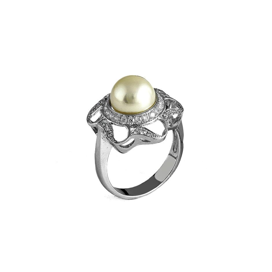 Sortija con diamantes y perla ( Rf 05034S-BR )