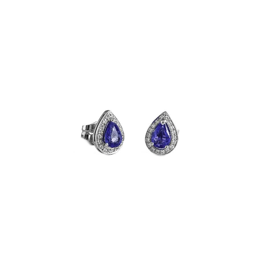 Pendientes con diamantes y zafiros ( Rf 05020BR-ZF )