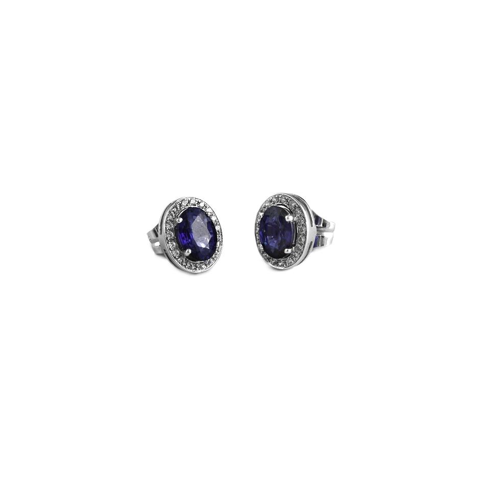Pendientes con diamantes y zafiros ( Rf 05025BR-ZF )