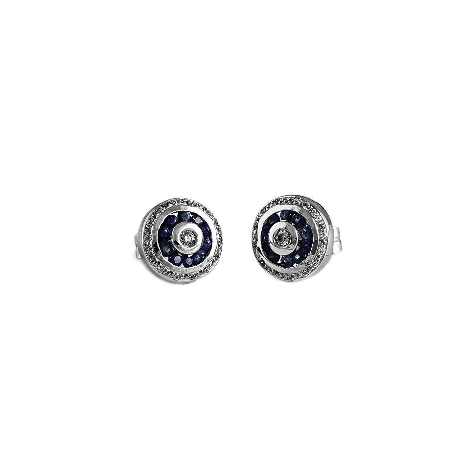 Pendientes con diamantes y zafiros ( 01790PBR-ZF )