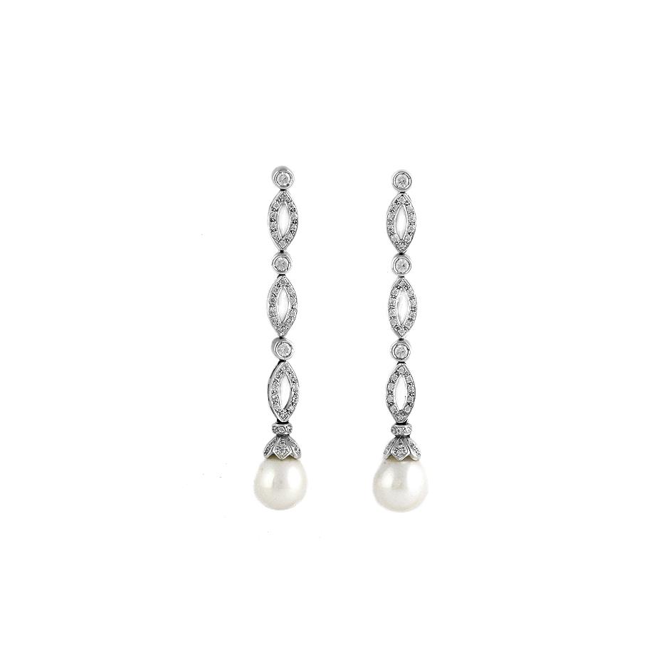 Pendientes con diamantes y perlas ( Rf 04061BR   )