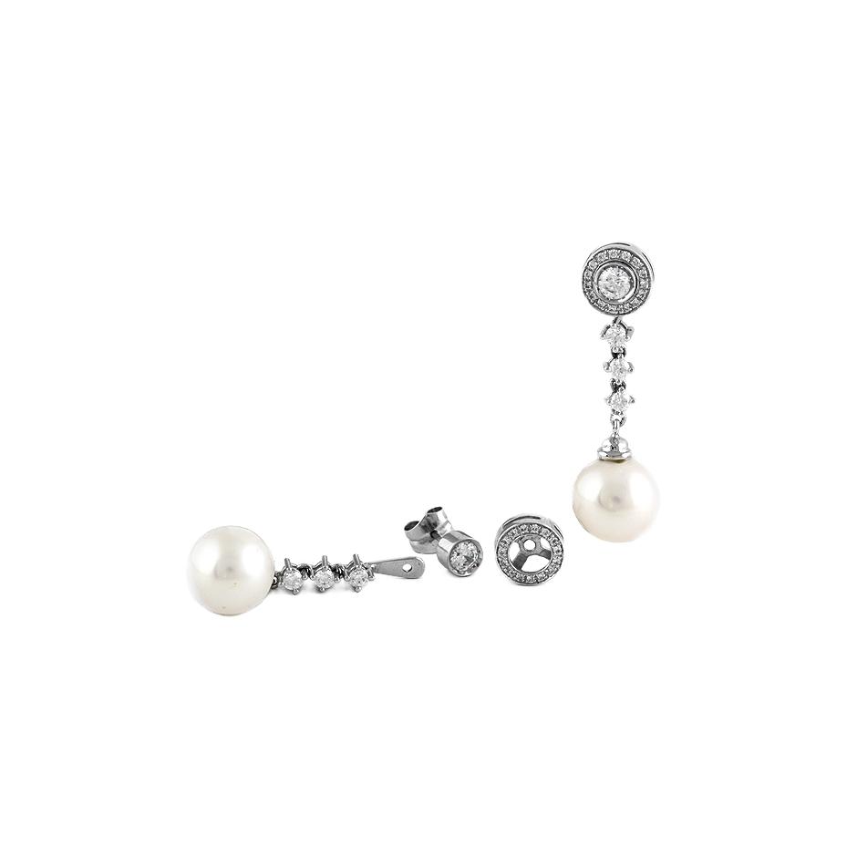 Pendientes con diamantes y perlas ( Rf 05326BR-AUS   )