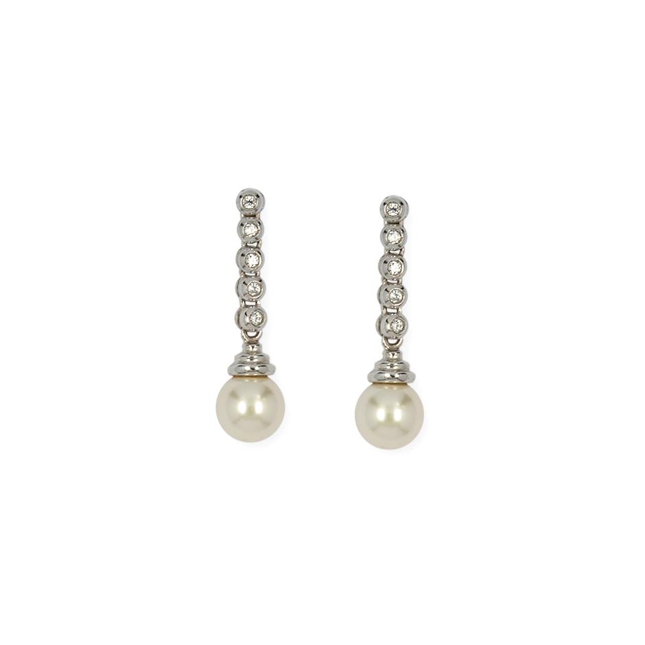 Pendientes con diamantes y perlas ( Rf 01094BR-5C )