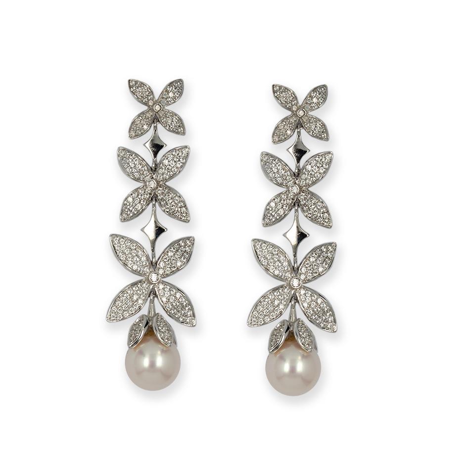 Pendientes con diamantes y perlas ( Rf 04986P-BR )
