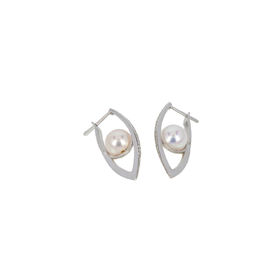 Pendientes diamantes y perlas Top Armony. (Rf.07242BR)
