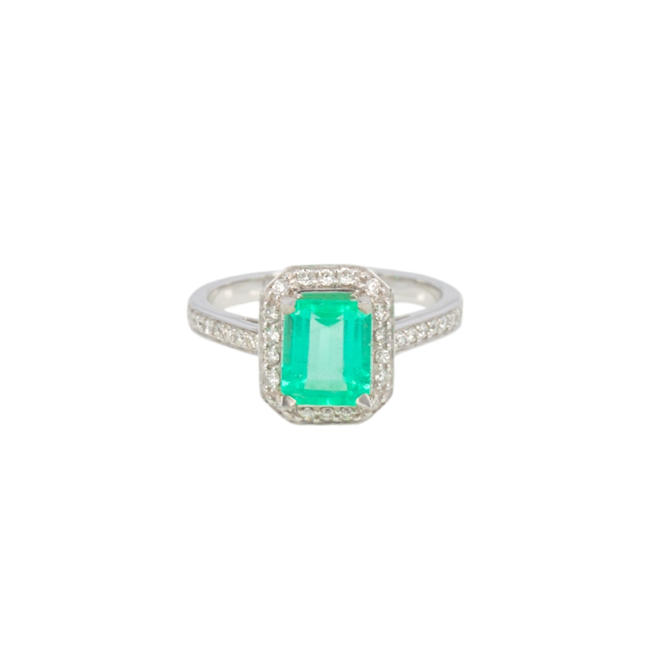 Sortija esmerlada y diamantes. (07032BR-COLOMB)