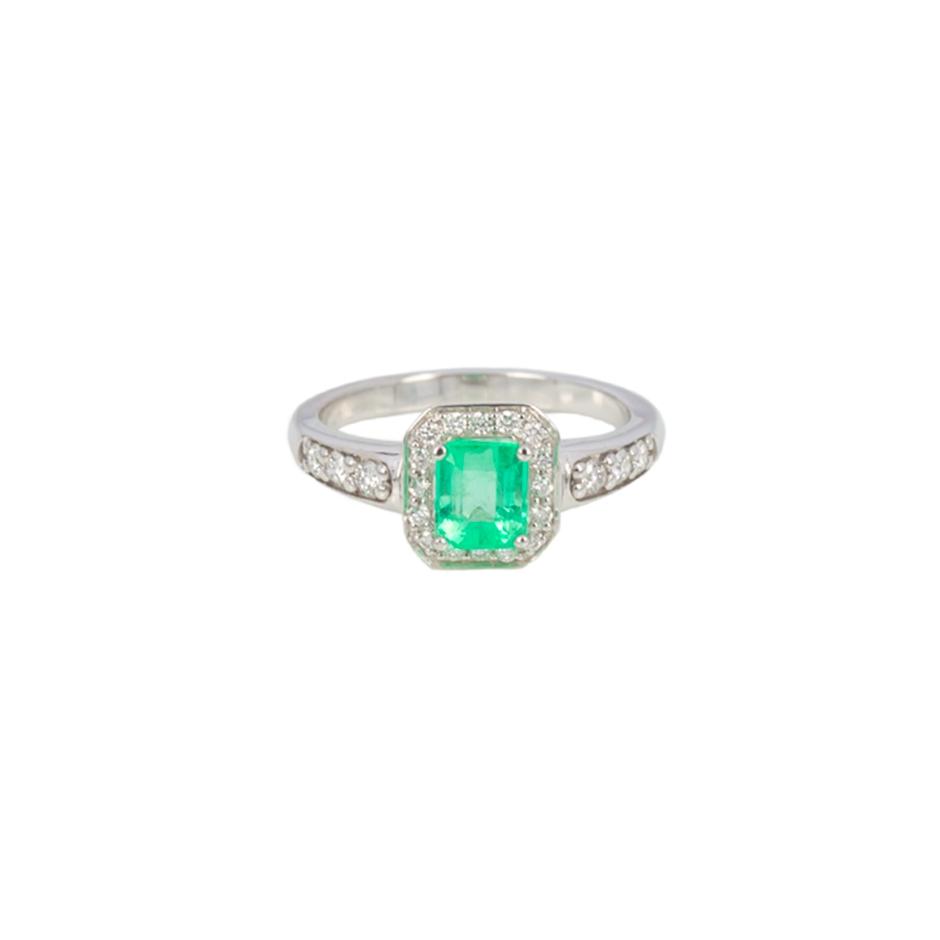 Sortija esmerlada y diamantes. (07283BR-COLOMB)