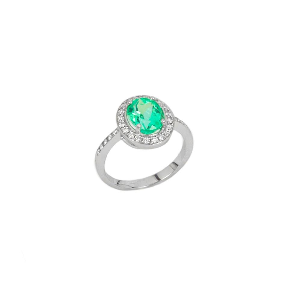Sortija esmerlada y diamantes. (07285BR-COLOMB)