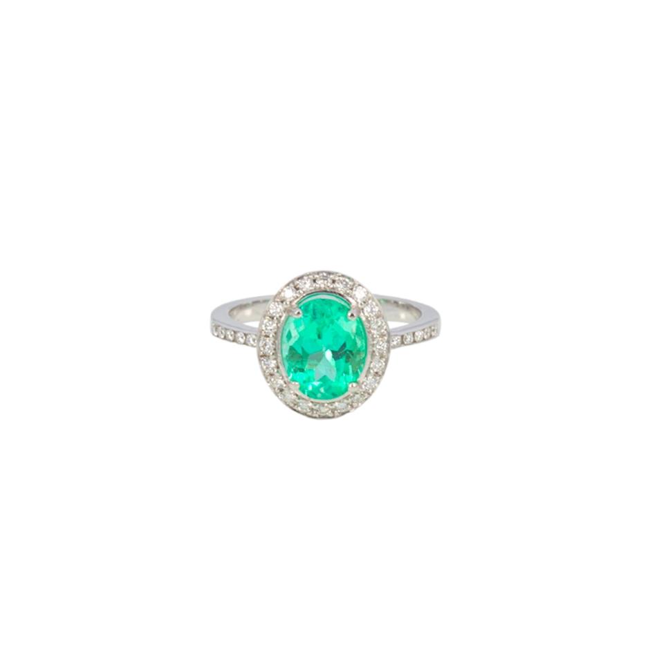 Sortija esmeralda y diamantes. (07285BR-COLOMB)