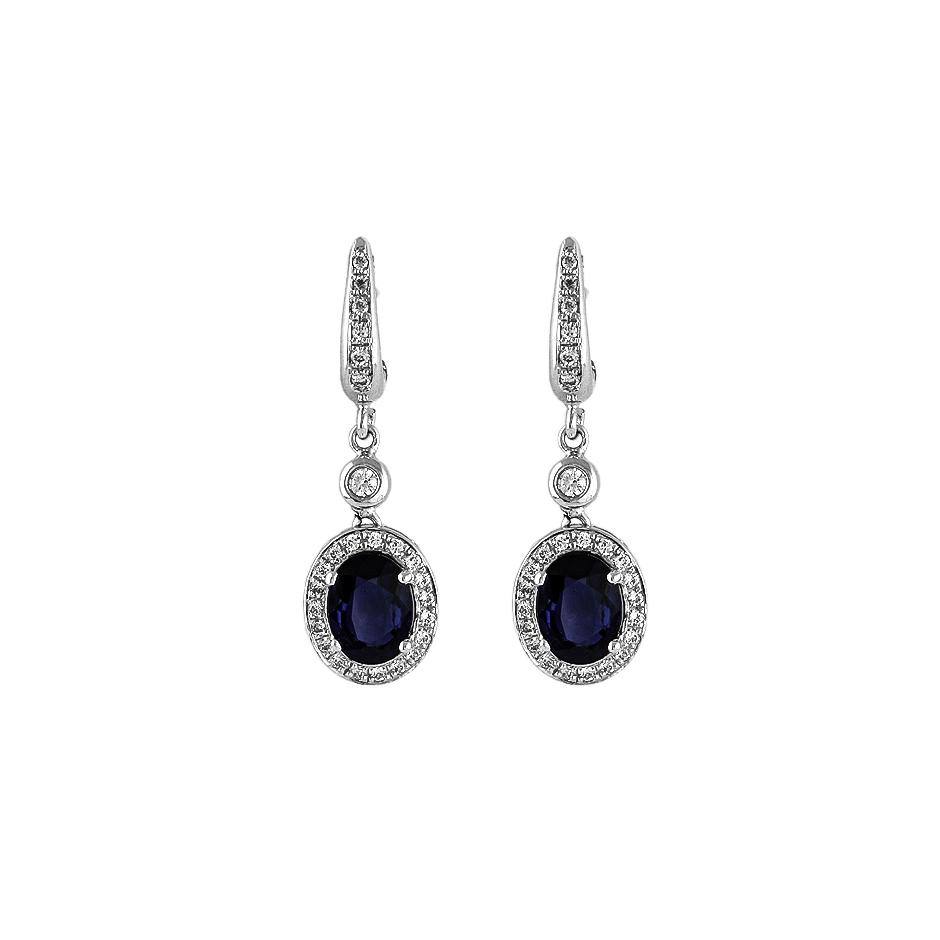 Pendientes con diamantes y zafiros ( Rf 05236BR-ZF )