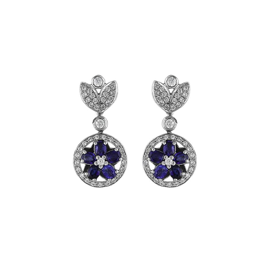 Pendientes con diamantes y zafiros ( Rf 05242BR-ZF )