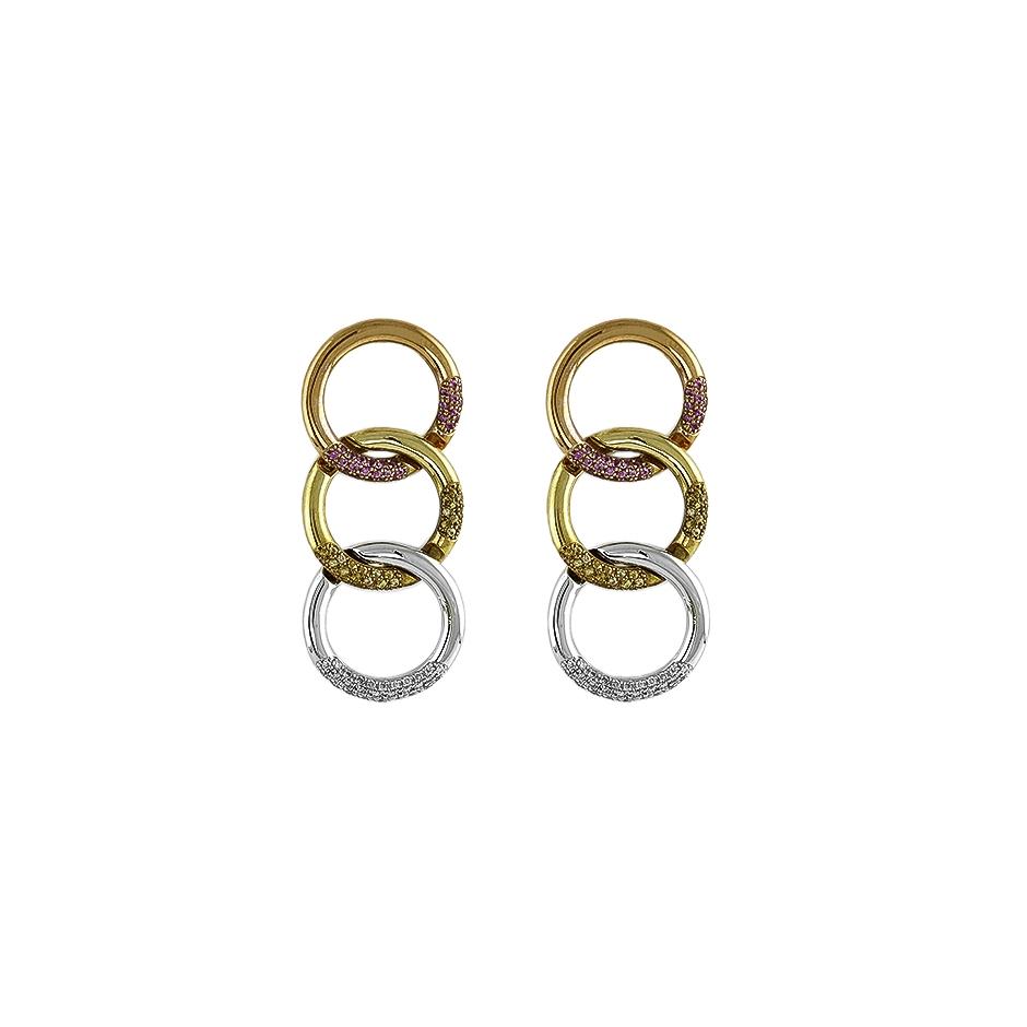 Pendientes con diamantes tricolor ( Rf 05293BR )