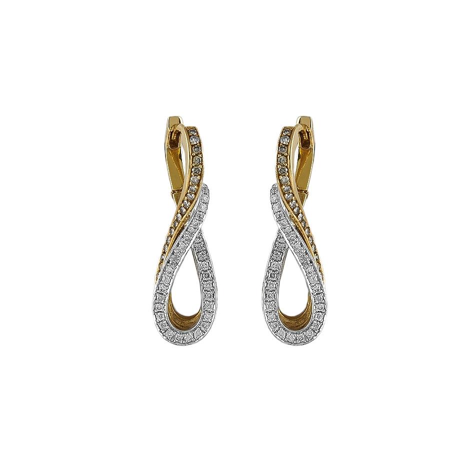 Pendientes con diamantes bicolor ( Rf 05307BR )
